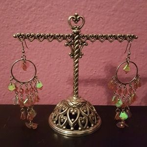 Jewelry - ❤3 for $15! Pink crystal dangle earrings